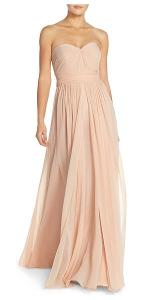 Jenny Yoo mira convertible strapless chiffon gown in blush - Meticulous pleating shapes the fitted sweetheart bodice...