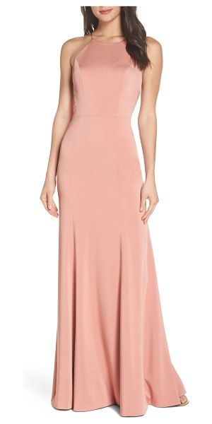 Jenny Yoo naomi luxe crepe halter gown in pink