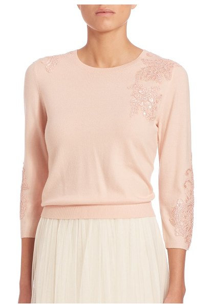 Jenny Yoo paisley embellished sweater in blossom - Feminine sweater with delicate lace appliques. Crewneck....