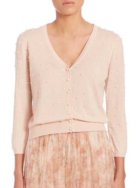 Jenny Yoo perla pearly beaded cardigan in blush - Pearly beads elevate ladylike cardigan.V-neck....