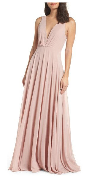 Jenny Yoo ryan illusion neck chiffon gown in pink - This chiffon gown features gentle pleats that fan upward...
