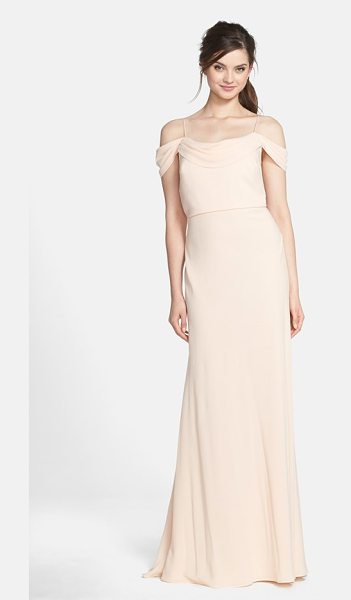 Jenny Yoo sabine drop shoulder crepe de chine gown in buff - A beautifully draped neckline and graceful dropped...