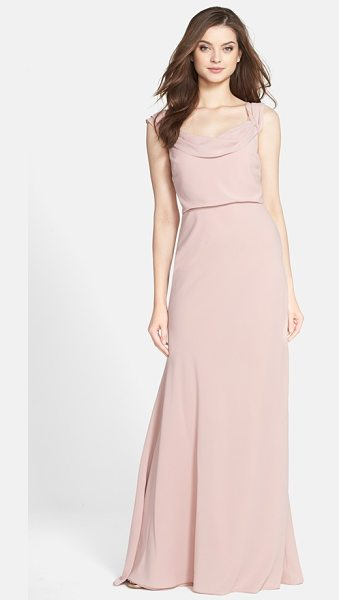 Jenny Yoo sabine drop shoulder crepe de chine gown in whipped apricot - A beautifully draped neckline and graceful dropped...