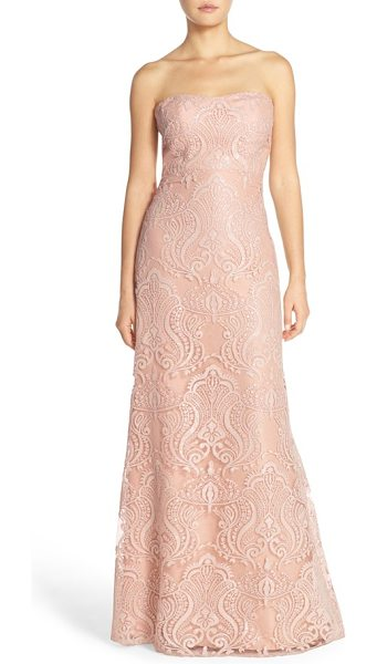 Jenny Yoo sadie sequin lace strapless a-line gown in blush - Sequined embroidery traces elegant shimmer over the...