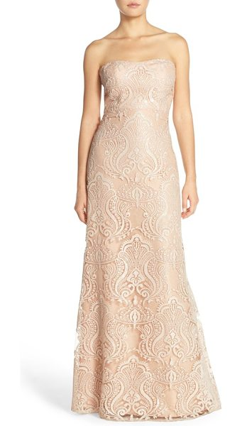 Jenny Yoo 'sadie' sequin lace strapless a-line gown in blush - Sequined embroidery traces elegant shimmer over the...