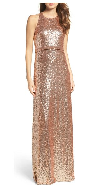 Jenny Yoo sloane sequin halter gown in rose gold - Sparkling embellishments swirl around a wildly...