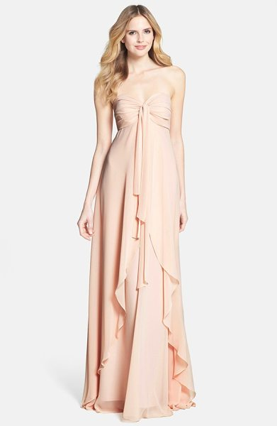 JENNY YOO suri convertible strapless chiffon dress in blush - A waterfall overlay romances this strapless chiffon...