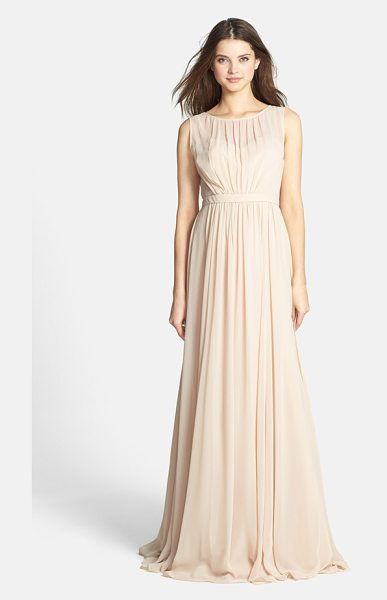 Jenny Yoo 'vivienne' pleated chiffon gown in champagne - Pull out the photos many years from now, and you'll see...