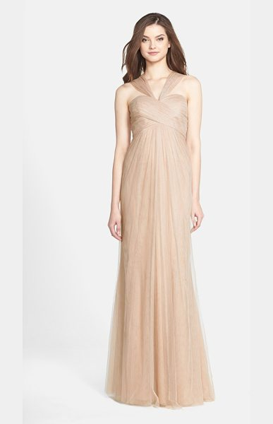 JENNY YOO 'willow' convertible tulle gown in tuscan beige - A crisscrossed sweetheart bodice tops a softly flowing...