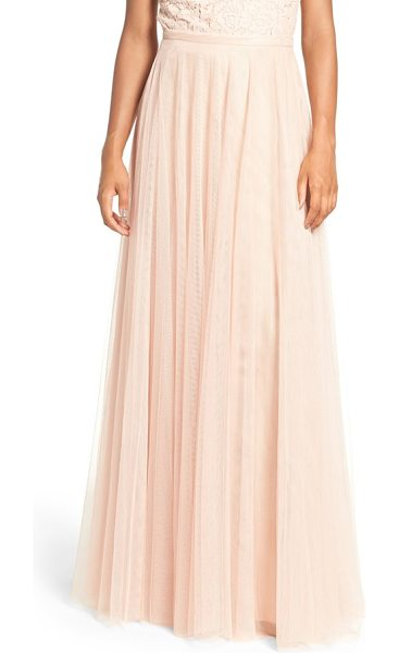 Jenny Yoo 'winslow' long tulle a-line skirt in cameo pink - A banded waist and slim A-line cut flatter in a dreamy...