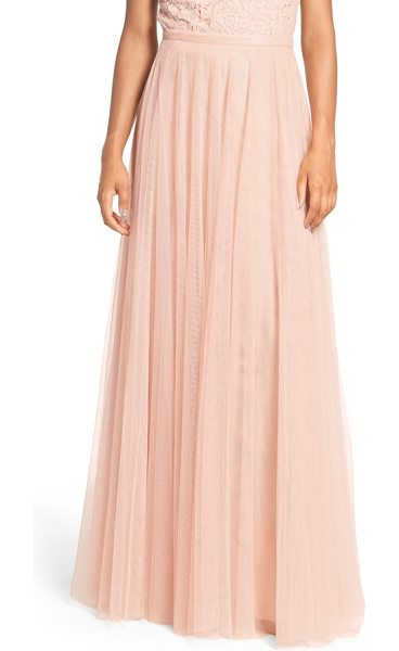 Jenny Yoo winslow long tulle a-line skirt in cameo pink - A banded waist and slim A-line cut flatter in a dreamy...
