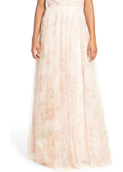 Jenny Yoo 'winslow' print tulle long a-line skirt in blush - A banded waist and slim A-line cut flatter in a dreamy...