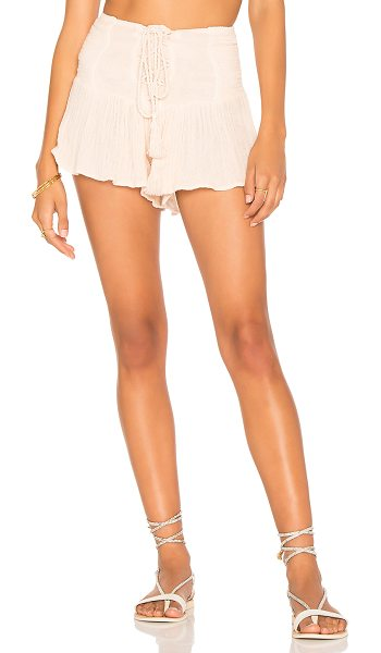 """Jen's Pirate Booty Ash Shorties in pink - """"100% cotton. Hand wash cold. Lace-up front with tassel..."""