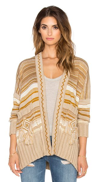 Jen's Pirate Booty Shaman cardigan in tan - 75% acrylic 25% polyamide. Dry clean only. Open front....