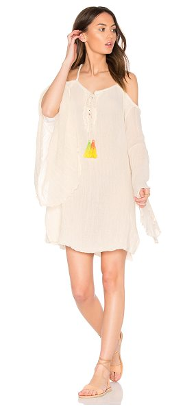 JEN'S PIRATE BOOTY Tassel Wildlife Drop Back Mini Dress - 100% cotton. Hand wash cold. Unlined. Lace-up front with...