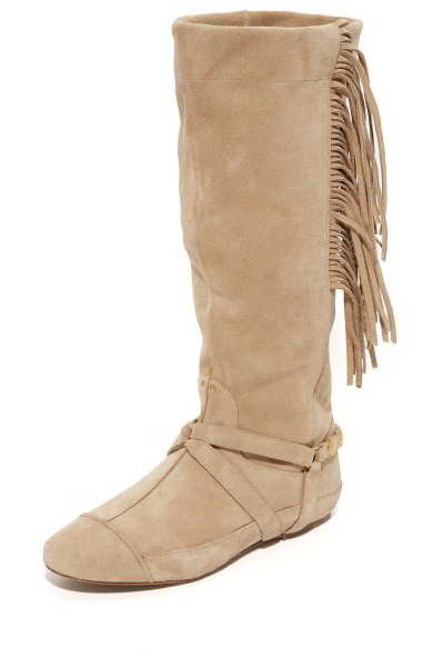 Jerome Dreyfuss arizona fringe boots in beige - Fringe at the slouchy shaft lends a western flair to...