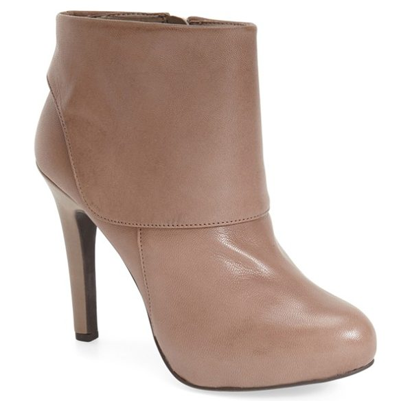 Jessica Simpson addey platform bootie in slater taupe burnished leather - A hidden platform lifts a swanky almond-toe bootie...
