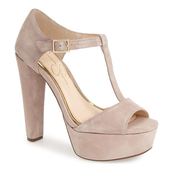 Jessica Simpson adelinah t-strap platform sandal in sandbar - A chunky covered heel and platform add serious height to...