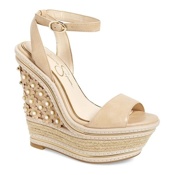 Jessica Simpson ameka platform wedge sandal in buff leather - Metallic piping accentuates the curvy silhouette of a...