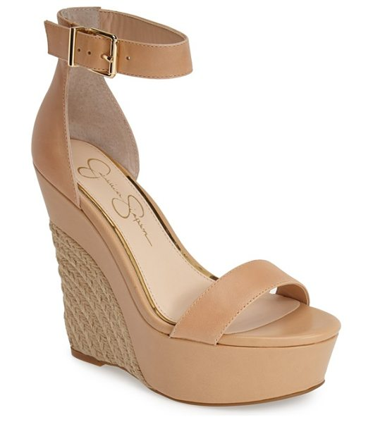 JESSICA SIMPSON arista wedge sandal in all natural - Smooth leather in a sophisticated hue plays beautifully...