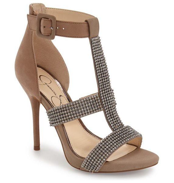 Jessica Simpson barerra sandal in taupe nubuck - Sparkling crystals adorn the straps of a showstopping...