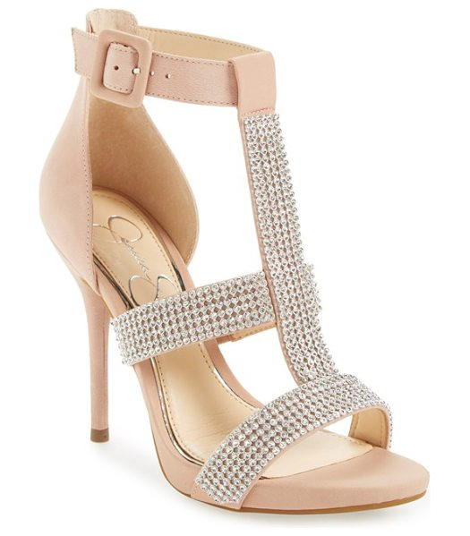 Jessica Simpson barerra sandal in nude/ blush nubuck - Sparkling crystals adorn the straps of a showstopping...