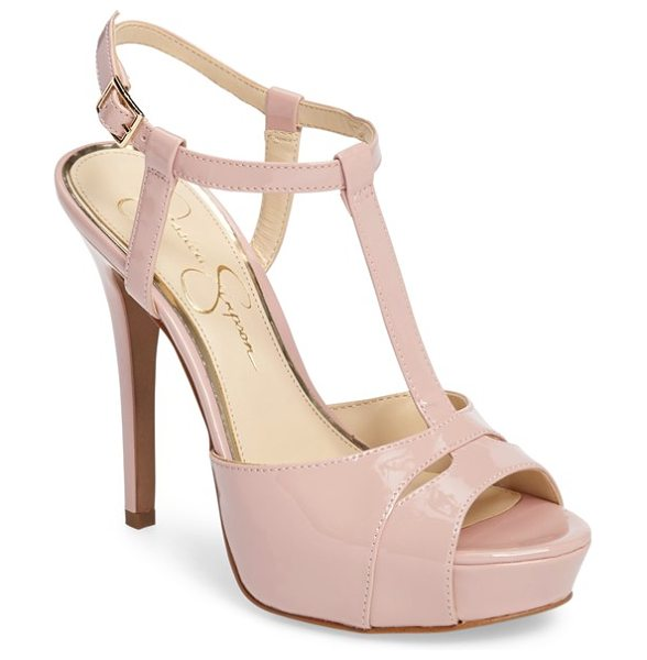Jessica Simpson barretta t-strap platform sandal in ballerina - A leg-lengthening T-strap climbs the instep of a flirty...