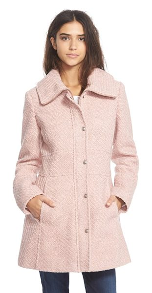 Jessica Simpson basket weave fit & flare coat in rose - A zip-through collar frames the face for a...
