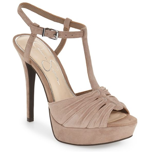 Jessica Simpson 'bassie' t-strap platform sandal in taupe suede - A pleated open toe and slender T-strap define this...