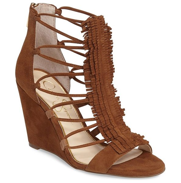 Jessica Simpson 'beccy' wedge sandal in canela brown - Sultry fringe and strappy sides detail a lush suede...