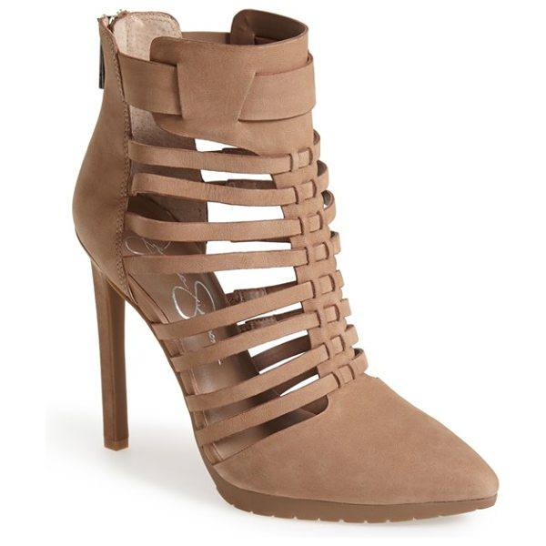Jessica Simpson berdet cage bootie in totally taupe - Slim wraparound straps create the caged silhouette of a...