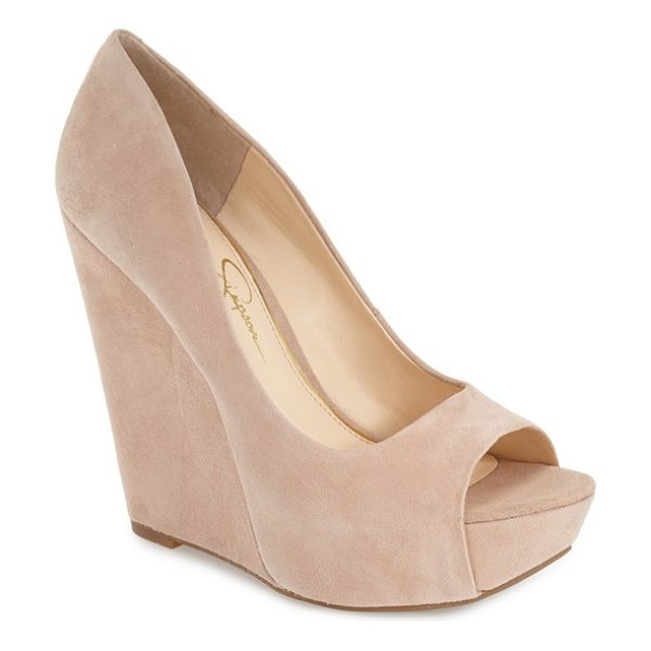 Jessica Simpson bethani wedge platform sandal in dark sandbar suede - A curvy upper is boosted by a sky-high cork wedge heel...