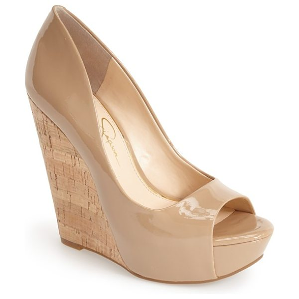 Jessica Simpson bethani wedge platform sandal in nude - A curvy upper is boosted by a sky-high cork wedge heel...