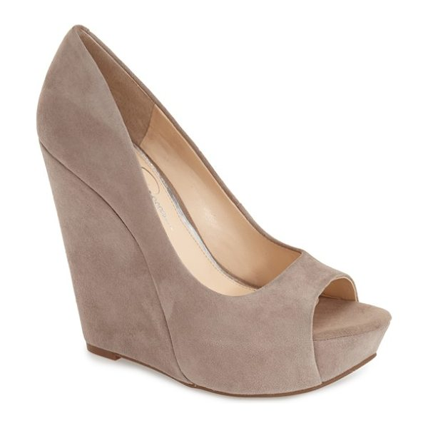 Jessica Simpson bethani wedge platform sandal in slater taupe suede - A curvy upper is boosted by a sky-high cork wedge heel...
