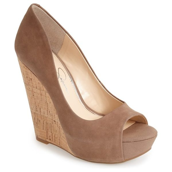 Jessica Simpson bethani wedge platform sandal in totally taupe - A curvy upper is boosted by a sky-high cork wedge heel...