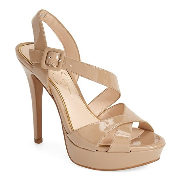 Jessica Simpson beverlie platform sandal in nude patent - A liquid-shine patent finish intensifies the uptown...