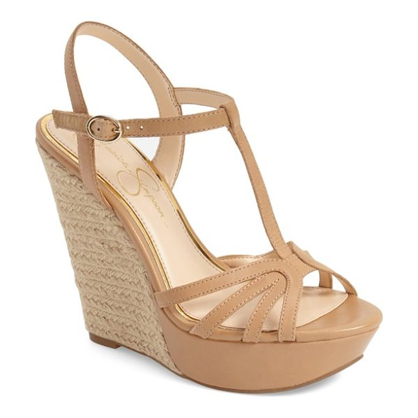 Jessica Simpson bevin espadrille wedge sandal in buff leather - An espadrille wedge adds a rustic element to a dramatic...