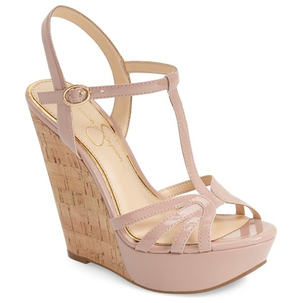 Jessica Simpson bevin espadrille wedge sandal in nude/ blush patent - An espadrille wedge adds a rustic element to a dramatic...
