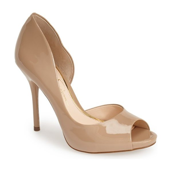 Jessica Simpson bibi half dorsay pump in nude - Go for daring style with this curvy half d'Orsay pump...