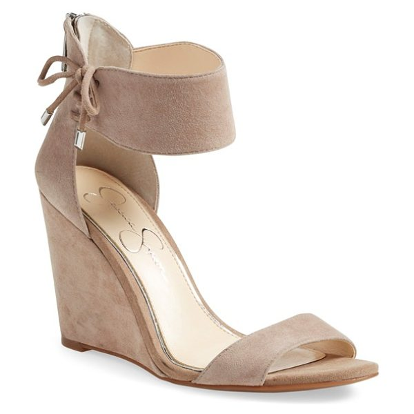 Jessica Simpson breeley wedge sandal in totally taupe nubuck - A decorative tie embellishes the wide ankle strap of a...