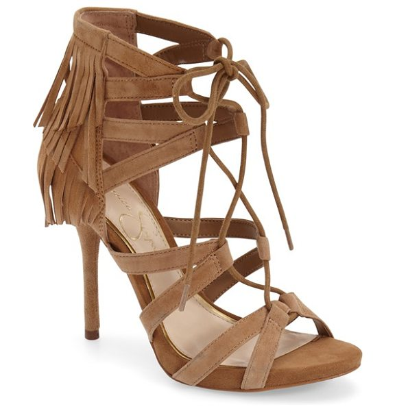 Jessica Simpson bregan cage fringe sandal in dakota tan suede - Sultry straps wrap the vamp and foot of an alluring...