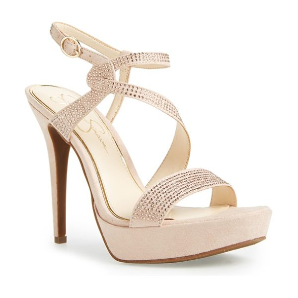 Jessica Simpson brigid platform sandal in warm chai fabric - Sinuous crystal straps sparkle and shine on a...