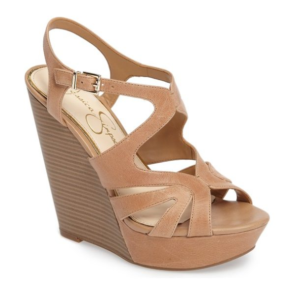 Jessica Simpson brissah wedge in buff leather - A sky-high stacked wedge and chunky covered platform add...
