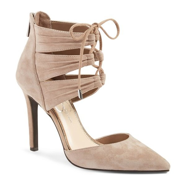 JESSICA SIMPSON caleya lace up pump in totally taupe suede - Crisscrossed laces bridge the pleated, triple-strap cuff...