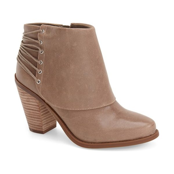 Jessica Simpson calvey bootie in slater taupe - Skinny laces wrap the back of a leather shield bootie...