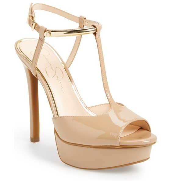Jessica Simpson carah platform sandal in nude - Metallic hardware highlights the sleek ankle strap of a...