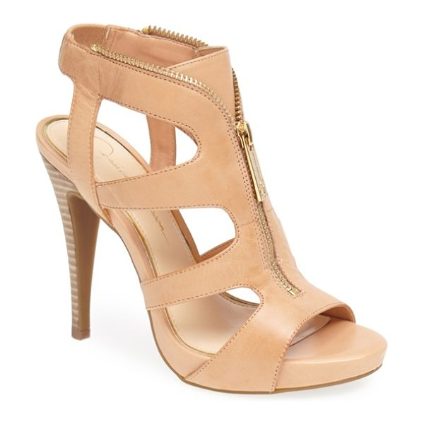 Jessica Simpson carmyne leather sandal in natural - Edgy zipper teeth trace the topline of a lofty leather...