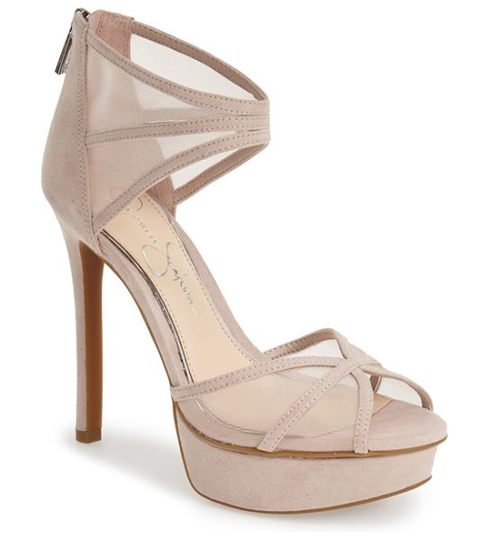 Jessica Simpson ceyanna platform sandal in sandbar suede mesh - Sheer mesh insets add sultry appeal to a sky-high...