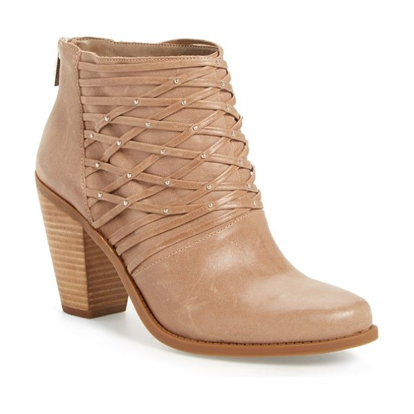 JESSICA SIMPSON 'claireen' woven bootie - Tiny silvertone studs embellish the lattice woven upper...
