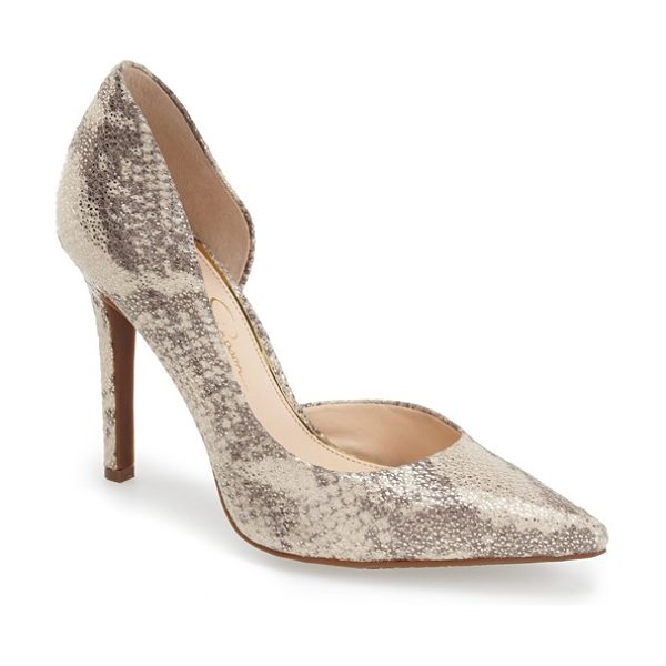 Jessica Simpson claudette pump in cream/ grey/ gold - A trend-right single-sole stiletto features a pretty...
